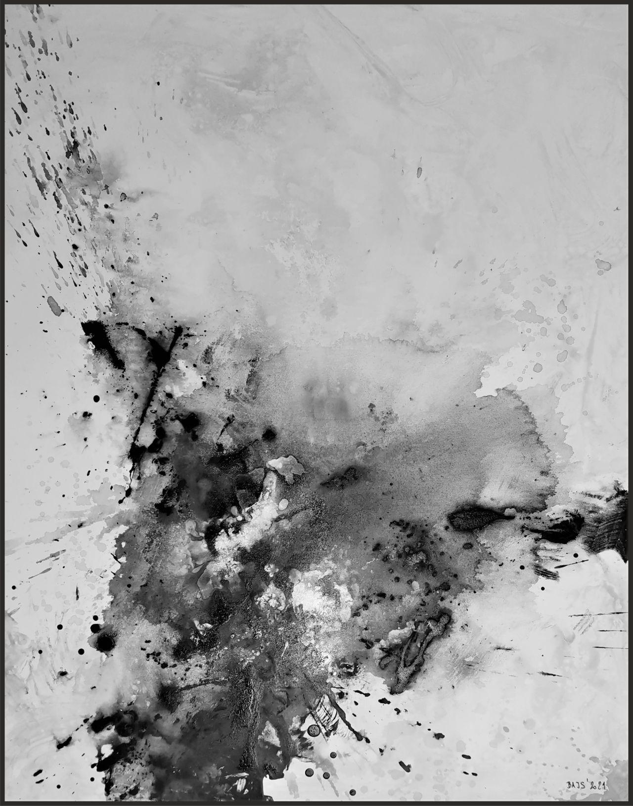 Abstraktní ručně malovaný obraz na plátně, vesmírní mlhovina, bíla modrá fialová